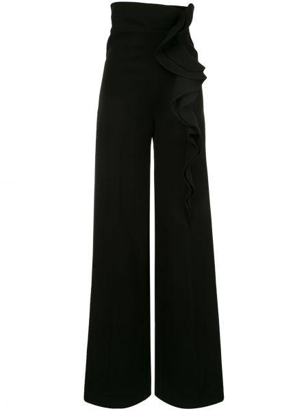 Черные свободные брюки свободного кроя на молнии с оборками Azzi & Osta