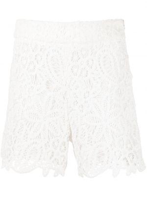 Białe szorty z wysokim stanem bawełniane Milly