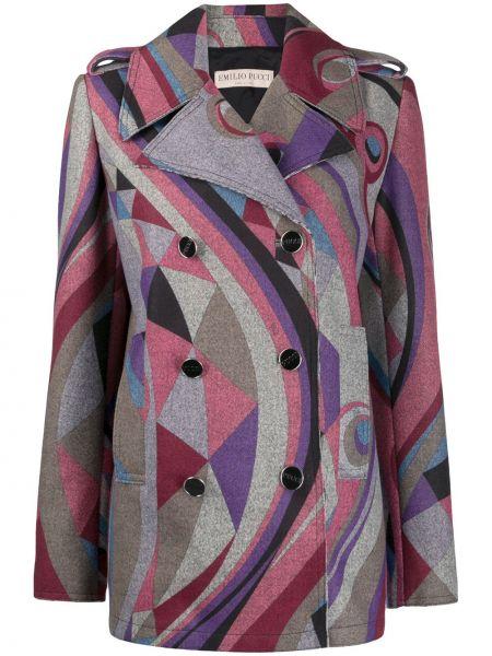 Длинное пальто двубортное с карманами на пуговицах Emilio Pucci