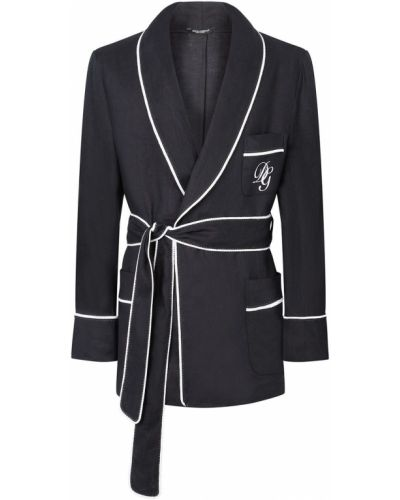 Czarny długi szlafrok z haftem z długimi rękawami Dolce And Gabbana