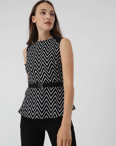 Блузка без рукавов черная салатовый Lime