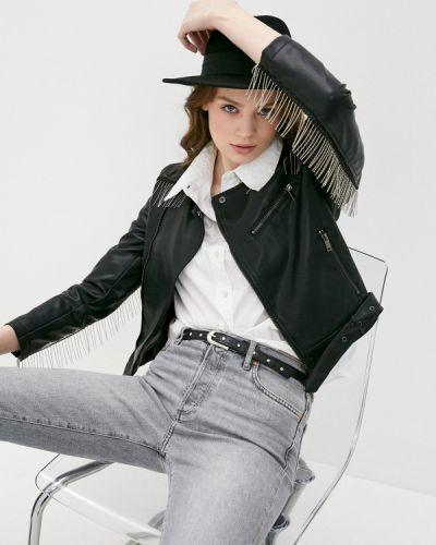 Черная кожаная куртка Izabella