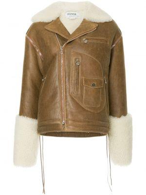 Кожаная коричневая куртка на молнии с декоративной отделкой Monse