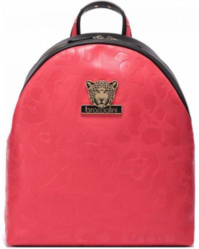 Красный кожаный рюкзак Braccialini