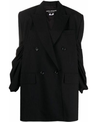 Черный удлиненный пиджак двубортный с карманами Junya Watanabe