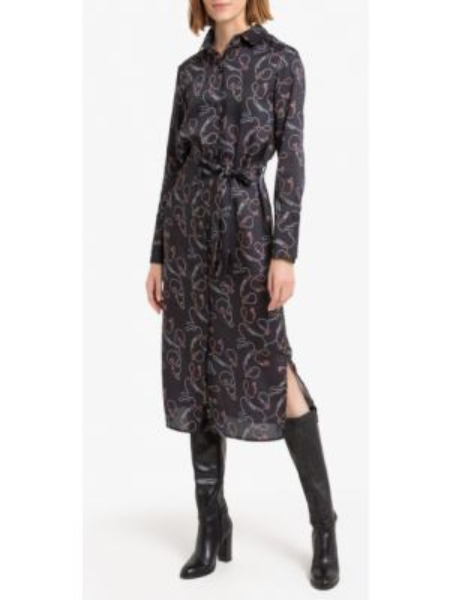 Платье с поясом с вышивкой винтажная La Redoute