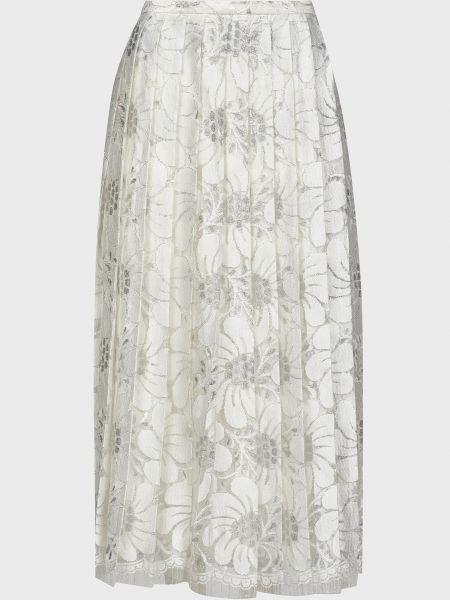 Шелковая белая юбка с подкладкой Rochas
