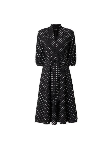 Czarna sukienka rozkloszowana w grochy Lauren Ralph Lauren