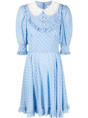Шелковое белое платье в горошек Alessandra Rich