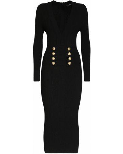 Złota czarna sukienka midi zapinane na guziki Balmain