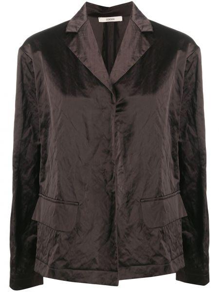 Серый удлиненный пиджак с карманами на пуговицах Odeeh
