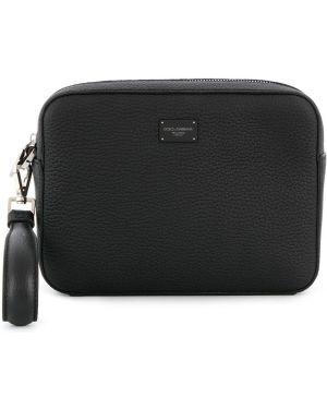 Черный кожаный клатч на молнии Dolce & Gabbana