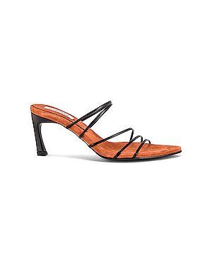Кожаные черные сандалии на каблуке с завязками Reike Nen