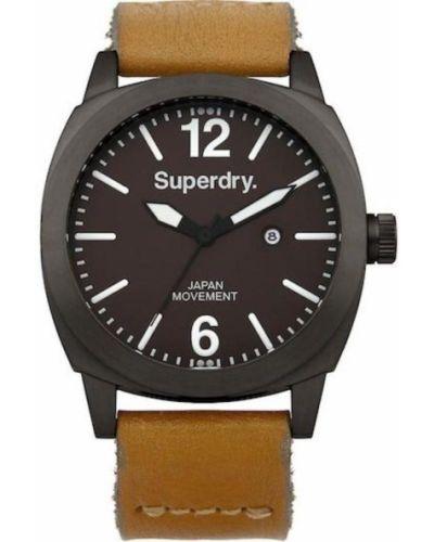 Czarny zegarek na skórzanym pasku skórzany kwarc Superdry