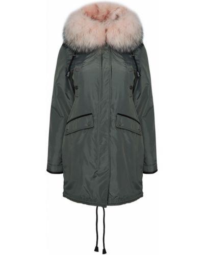 Зеленое теплое пальто с мехом Nicole Benisti