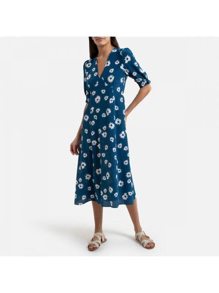 Платье миди с цветочным принтом со вставками La Redoute