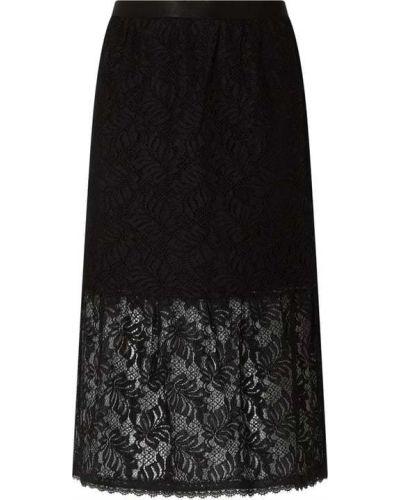 Spódnica rozkloszowana koronkowa - czarna Rosemunde