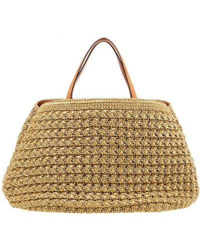 Кожаная сумка плетеная соломенная Ermanno Scervino