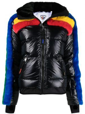 С рукавами черная длинная куртка с капюшоном Rossignol