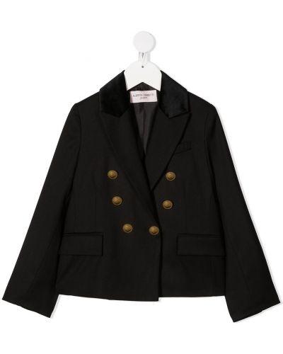 Черный пиджак с карманами с лацканами из вискозы Alberta Ferretti Kids