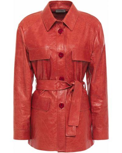 Оранжевая кожаная куртка с поясом Drome