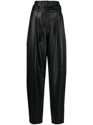 Czarne spodnie z wysokim stanem skorzane Wandering