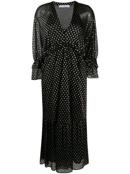 Платье макси с вышивкой с длинными рукавами с V-образным вырезом золотое Iro