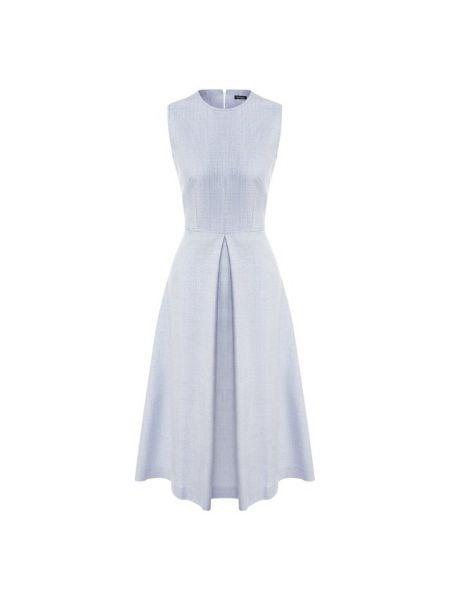 Синее расклешенное приталенное шелковое платье Kiton