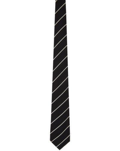 Czarny krawat w paski z jedwabiu Ralph Lauren Purple Label
