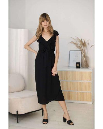 Czarna sukienka materiałowa Kabelle