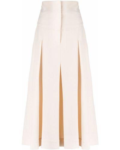 Wełniany beżowy spodnie culotte bezpłatne cięcie z kieszeniami Alberta Ferretti