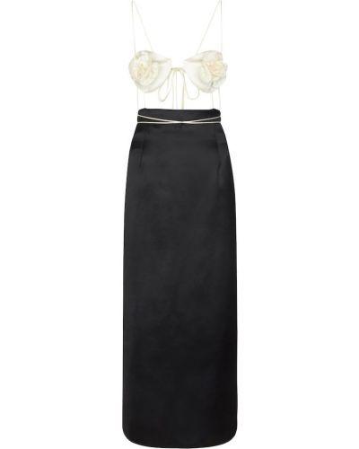 Czarna sukienka długa z jedwabiu sznurowana Magda Butrym