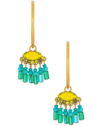 Złote kolczyki sztyfty - niebieskie Elizabeth Cole