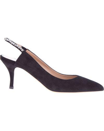 Туфли на каблуке кожаные замшевые Valentino