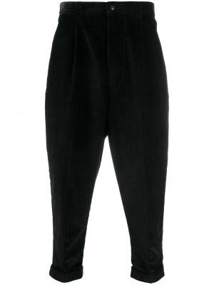 Prążkowane czarne spodnie bawełniane Ami
