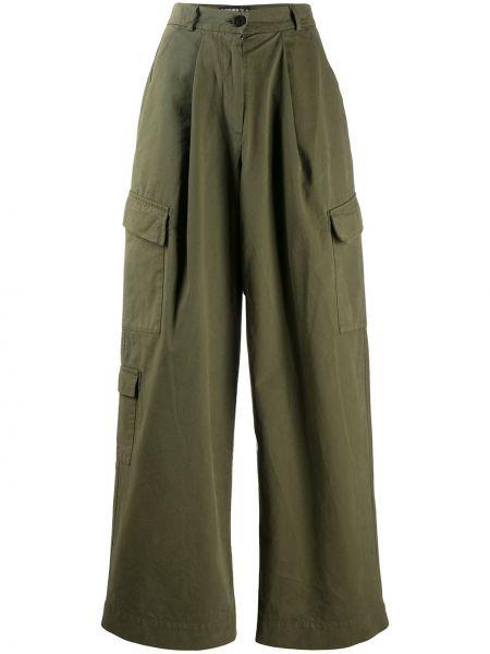 Зеленые свободные брюки свободного кроя на пуговицах с высокой посадкой Raeburn