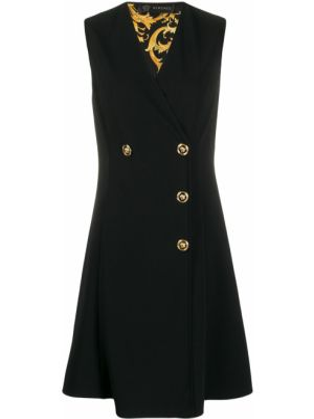 Черное платье двубортное на пуговицах без рукавов Versace