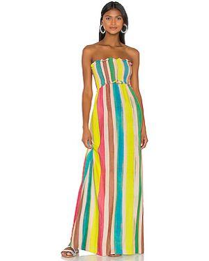 Платье макси с декольте из вискозы Pilyq