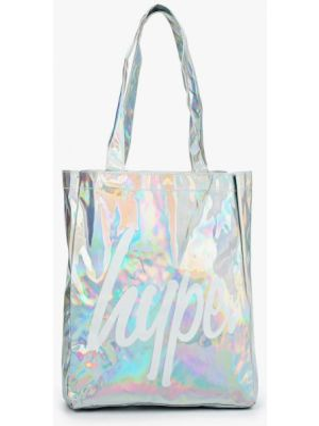 Серебряная сумка шоппер с камнями Hype