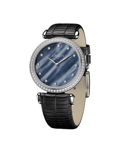Часы на кожаном ремешке черные кварцевые Sokolov