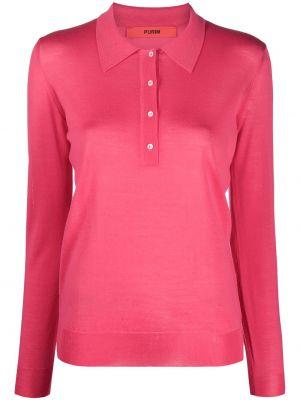 Розовая рубашка с воротником с длинными рукавами Roberto Collina