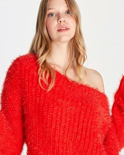 Акриловый красный свитер с открытыми плечами Mavi
