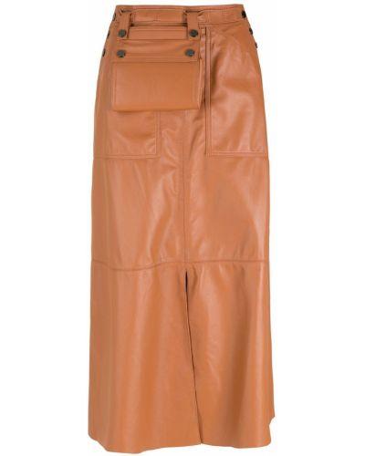 Кожаная юбка миди на пуговицах с карманами НК