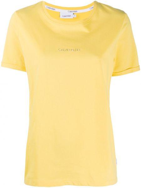 Хлопковая желтая с рукавами футболка Calvin Klein