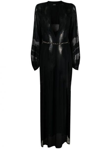 Кружевное черное платье макси с вырезом Amen.