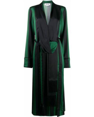 Нейлоновое расклешенное платье миди с V-образным вырезом с драпировкой Monse