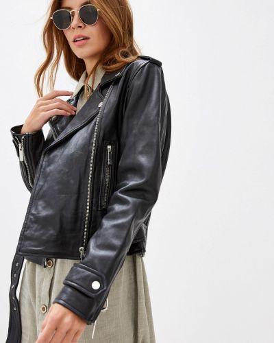 Кожаная куртка черная осенняя Oakwood