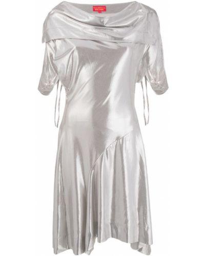 Серебряное приталенное драповое платье мини винтажное Vivienne Westwood Pre-owned