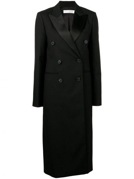 Шерстяное черное длинное пальто с капюшоном Victoria Beckham