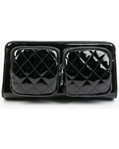 Лаковая кожаная черная сумка Vitacci
